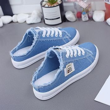 Spring Summer Women Canvas Shoes flat sneakers women casual shoes low upper lace up white shoes