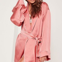 Missguided - Pink Kimono Piped Detail Satin Robe