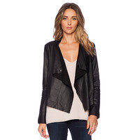 Black PU Leather Lapel Collar Jacket