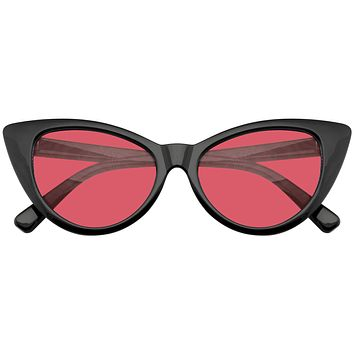 Retro 1990's Color Tone Fashion Mod Black Super Cat Eye Sunglasses