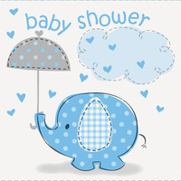 Umbrellaphants Blue Baby Shower Invitations (8)