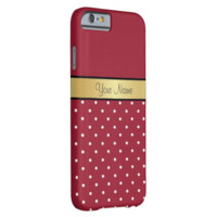 Gold Monogram Elegant Spicy Red & White Polka Dots Barely There iPhone 6 Case