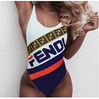 """FENDI"" New Fashionable Women Print Vest Type Backless One Piece Bikini Swimsuit Bathing"