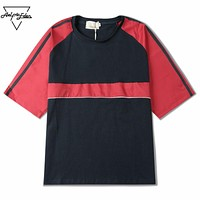 Street Retro Fashion Half Sleeve Man T Shirts Loose Casual T-shirt Simple Patchwork Men Tee Shirt Tops