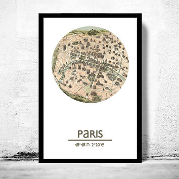 PARIS - city poster (2) - city map poster print