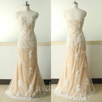 2015 Champagne Mermaid Lace Applique Wedding Dresses Sweetheart Lace Wedding Dress/ High Quality Wedding Dress/Custom Make Lace Wedding Gown