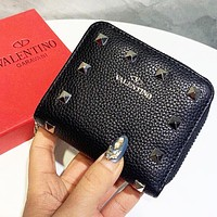 Valentino High Quality Women Men Leather Zipper Purse Wallet