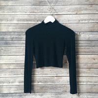 Gwen Ribbed Mock Neck (Black)