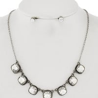 Vintage Silver &  Diamond Wedding Prom Necklace & Stud Earring Set