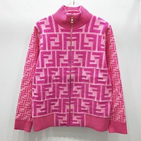 Fendi New fashion more letter print long sleeve coat women Pink