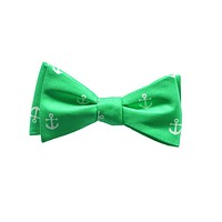 Anchor Bow Tie - Starboard (Green), Printed Silk