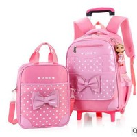 School Backpack School Trolley backpack bag for girls school bag with wheels for girls kid's Rolling luggage Bags wheeled Backpacks for Girls AT_48_3