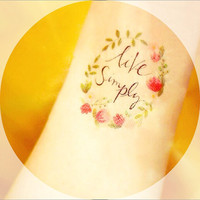 LIVE SIMPLY tattoo  - InknArt Temporary Tattoo -  set wrist quote tattoo body sticker fake tattoo wedding tattoo small tattoo