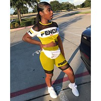 FENDI Newest Fashionable Women Casual Short Sleeve Top Shorts Two-Piece