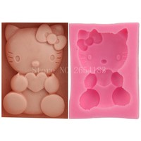 Cartoon Hello Kitty Cat Silicone Fondant Soap 3D Cake Mold Cupcake Jelly Candy Chocolate Decoration Baking Tool Moulds FQ1873
