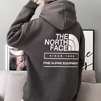 The North Face New fashion letter print hooded long sleeve sweater top Gray