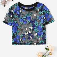 Floral Embroidery Sheer Mesh Top