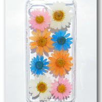 Handmade iPhone 5c case, Resin with Dried Flowers,  Daisy (01)