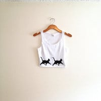 White and black cat crop top, tank, hipster shirt, walking cat silhouette, women apparel, teen girl, yoga clothes, crazy cat lady, cat lover