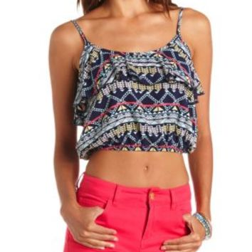 Navy Combo Tribal Print Ruffle Crop Top by Charlotte Russe