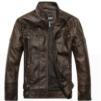 Men's Wear Motorcycle Leather Jacket Coat