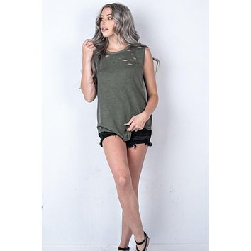 Sleeveless Distressed Laser Cut Tank in OLIVE