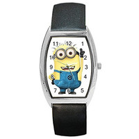 """Despicable Me """" Minion """" on a Womens, Mens, Girls, Boys Barrel Watch with Leather Band"""