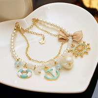 Rudder Anchor Pearl Shell Bowknot Beach Bracelet from FUNKISS