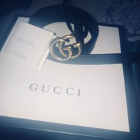Genuine Black Leather Gucci Small Double G Womens Belt, Size 85