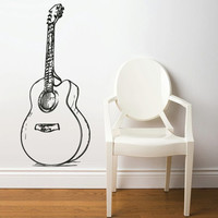 Wall Decal Vinyl Sticker Decals Acoustic Guitar Music (z2675)