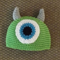 READY2SHIP 3-6 Months Baby Crochet MIKE Monsters Inc Hat