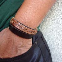 FREE SHIPPING  - Personalized Hand Stamped Bracelet, Men Leather Bracelet, Personalized wrap bracelet. Copper Plate Personalized Bracelet.