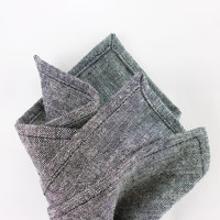 Chambray pocket square mens - 10 x 10 black and white charcoal gray linen cotton blend - hanky mitered corners - mans handkerchief