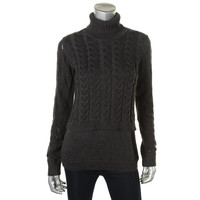 Calvin Klein Womens Cable Knit Eyelet Pullover Sweater