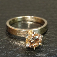 Fancy Diamond Engagement Ring Rare Champagne Solitaire Vintage