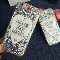 Cool Soft TPU Laser Love Heart Style Cover for Iphone 6 4.7'' Inch Plus 5.5''