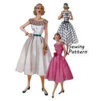 """Simplicity 4328 Woman's Summer Sun or Party Dress Sewing Pattern Vintage 1950's Size 12 Bust 30""""/ 76cm"""
