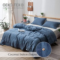 Simple&Opulence 100% Linen Duvet Cover Set, 3 Piece Belgian Flax Breathable Bedding, King Size(1 Comforter Cover+2 Pillowshams) with Coconut Button Closure-Classic Blue Denim Blue