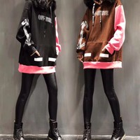 """""""OFF-WHITE"""" Women Personality Fashion Multicolor Letter Pattern Print Hooded Fur Collar Long Sleeve Sweater Tops"""