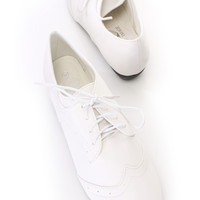 White Oxford Wing Tipped Toe Flats Faux Leather