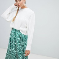 Monki ribbed crew neck jumper in off white at asos.com