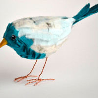 NOW SOLD Collage cotton recycled paper bird sculpture