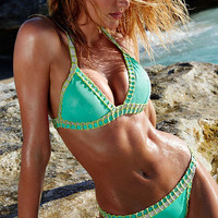 Green Handmade Triangle Crochet Bikini Suit Bikini Bra Set Swimsuit