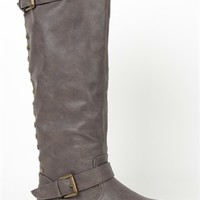 Tall Flat Riding Boot with Contrast Zipper and Studs - Clearance