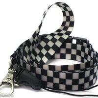 """Black and White Checkered Design 15"""" lanyard for ID Holder + Mobile Devices-New!"""
