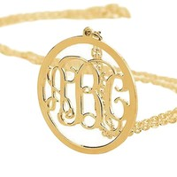Gold Circle Script Monogram Necklace