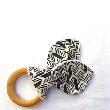 Natural Wooden Teething Ring - Gray Sunprint Feather Teether - Maple Hardwood Teething Ring - Bunny Ears Teether - Natural Teething