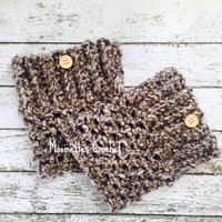 Chunky Handmade Boot Cuffs Aran Brown Black Boot Socks Bulky Legwarmers Button Womens Calf Warmers Crochet
