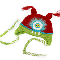 Red & Green Cyclops Monster Crochet Hat - Almost sold out!