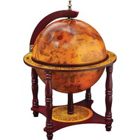 """13"""" Diameter Globe with 57pc Chess and Checkers Set"""